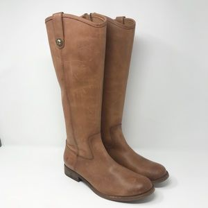 Frye Cognac Melissa Button Tall Leather Boots